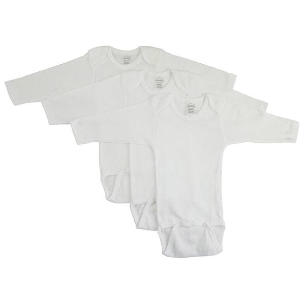 Bambini Long Sleeve White Onezie 3 Pack - Size - Medium - Unisex