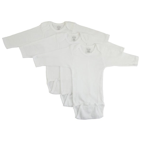 Bambini Long Sleeve White Onezie 3 Pack - Size - Newborn - Unisex