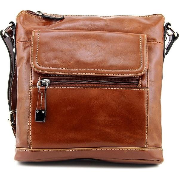 Giani Bernini Glazed Leather Crossbody Women Leather Brown Messenger