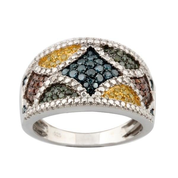 Attractive 0.63ct Round Brilliant Cut Real Multi Color Diamond with Diamond Effect Colorful Ring
