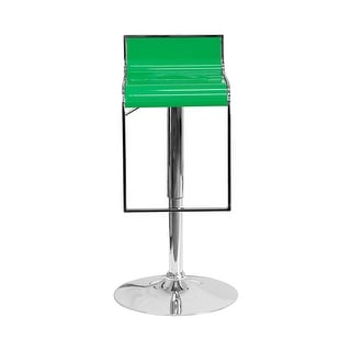 Offex Contemporary Green Plastic Adjustable Height Barstool with Chrome Drop Frame