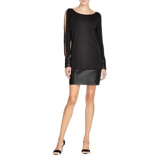 Bailey 44 Womens Musical Montage Cocktail Dress Matte Jersey Faux Leather trim