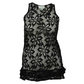 J Valdi Women's Ruffled Floral Lace Tunic Swim Cover