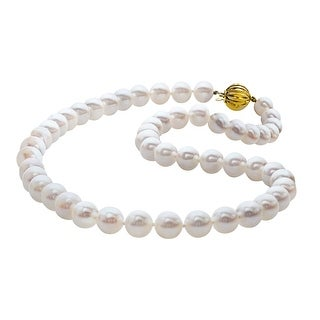 9 mm Akoya Freshwater Pearl Strand Necklace with 14K Gold Clasp
