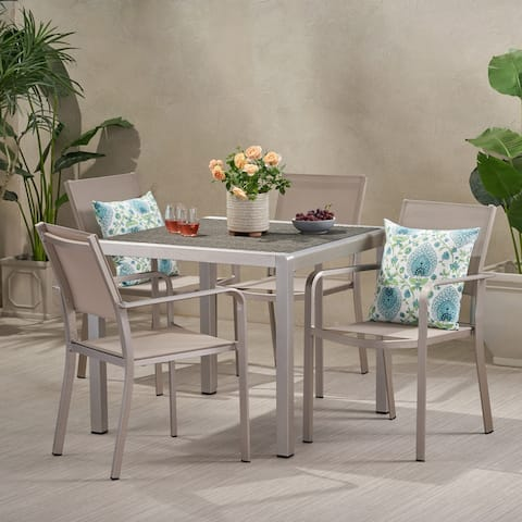 Boris Outdoor Modern 4 Seater Aluminum Dining Set with Wicker Table Top by Christopher Knight Home