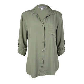 Confess Juniors' Catalina Roll-Tab Shirt (S, Olive) - Olive - S