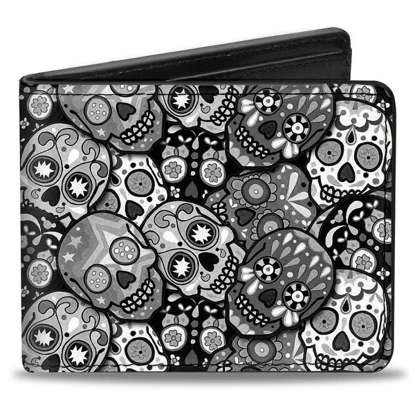 Calaveras Stacked Black Grays Bi Fold Wallet - One Size Fits most