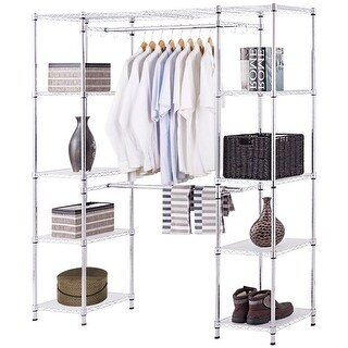 Gymax Expandable Closet Organizer Free Standing Clothes Hanger Rack Shelves Heavy Duty - metal color