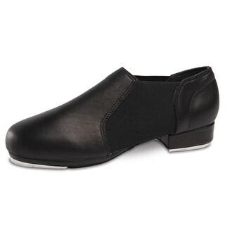Danshuz Womens Black Leather Slip On Elastic Dance Tap Shoes Size 3-12