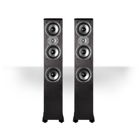 "Polk Audio TSi400 4-Way Tower Speakers with Three 5-1/4"" Drivers - Pair (Black) - Black"