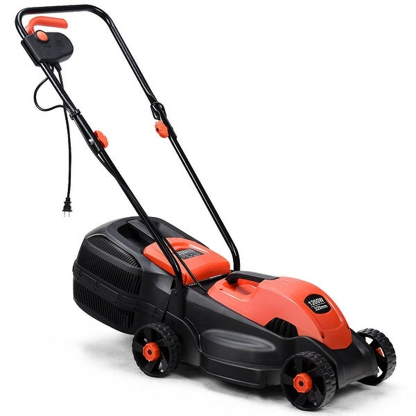 Costway 12 Amp 14-Inch Electric Push Lawn Corded Mower With Grass Bag Red