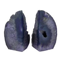 Small Polished Purple Brazilian Agate Geode Bookends <4 Pounds - 5 X 3 X 2.5 inches