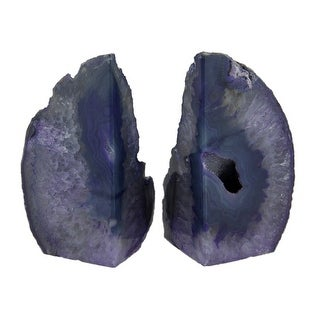 Small Polished Purple Brazilian Agate Geode Bookends <4 Pounds