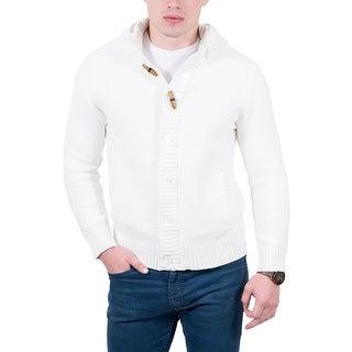 Cashmere Company White Waffle Knit Hooded Cardigan