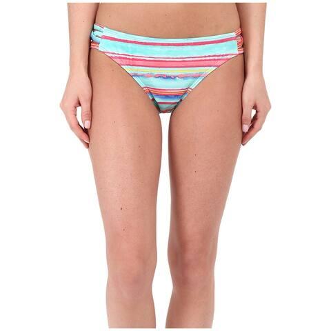 Nautica Blue Womens Size 6 Striped Cutout Swimwear Bikini Bottom