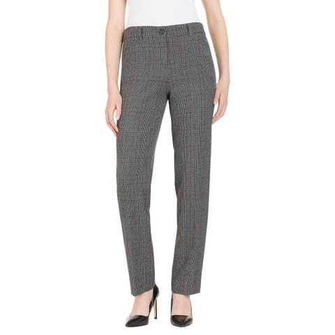 Hilary Radley Women Plus Stretch Slim Leg Flat Front Dress Pants 1249416 - Grey/Burgundy