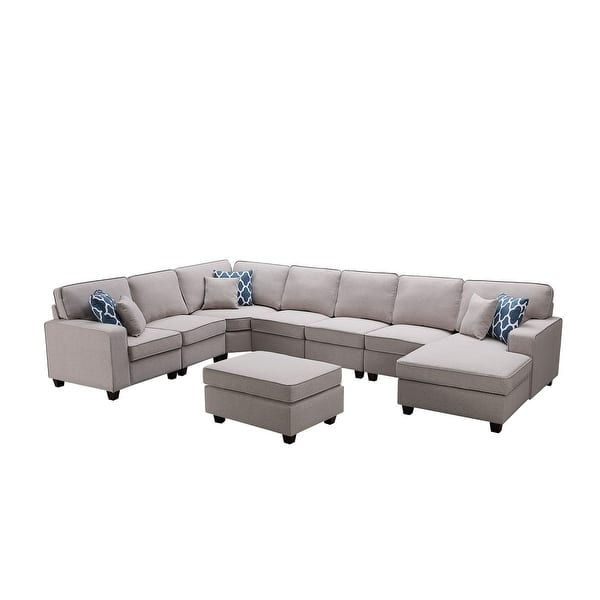 Irma 8 Piece Light Grey Linen Modular Sectional Sofa Set Overstock 30081710