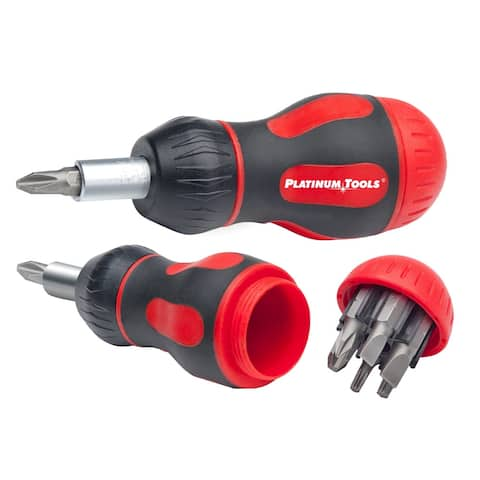 Platinum Tools 19120C 8 in 1 Ratcheted Stubby Screwdriver