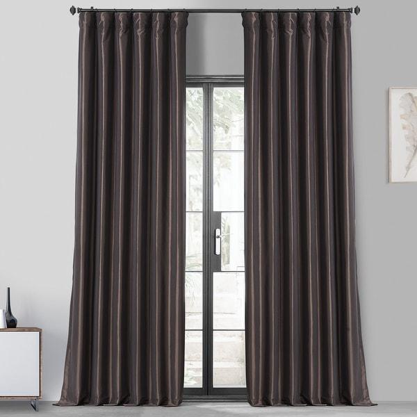 Faux Silk Taffeta Solid Blackout Single Curtain Panel. Opens flyout.