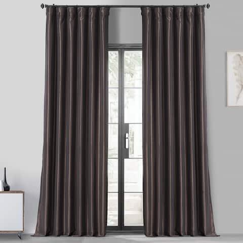 Faux Silk Taffeta Solid Blackout Single Curtain Panel