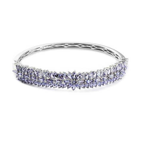 Platinum Over 925 Sterling Silver Blue Tanzanite Bangle Ct 8.5