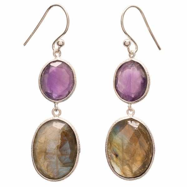 Women's Amethyst and Labradorite Sterling Silver Dangle Earrings - Purple