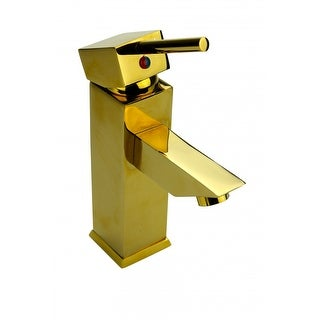 Bathroom Faucet Gold PVD Brass Square Single Hole 1 Handle Renovator's Supply