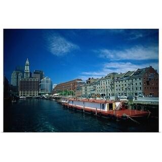 """""""Boston harbor and skyline, Massachusetts"""" Poster Print"""