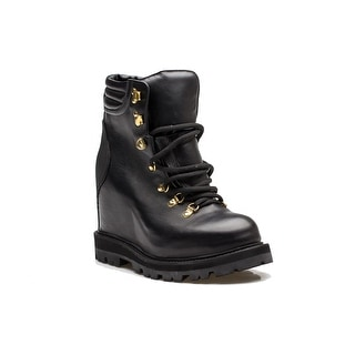 MONCLER Women's Leather Pump Boot Lace Up Black Gold