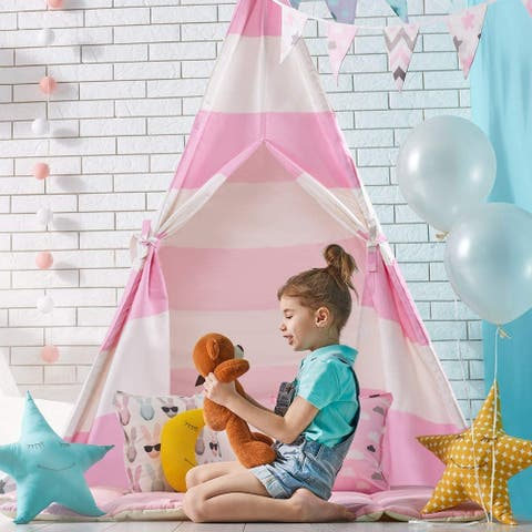 Wooden Poles Kids Playhouse Indian Canvas Teepee Play Tent Pink