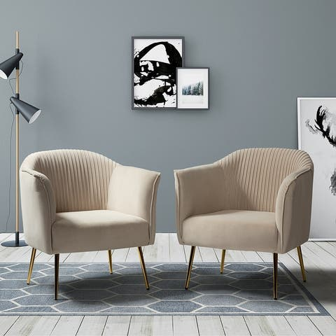 Belicia Upholstered Barrel Chair with Golden Legs,Set of 2