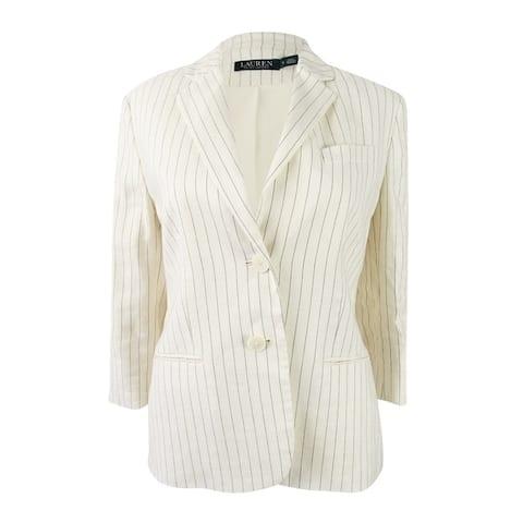 Lauren Ralph Lauren Women's Pinstripe Twill Blazer - White/Black