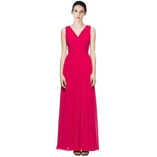 Calvin Klein V-Neck Pleated Chiffon Evening Gown Dress - 4