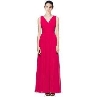 Calvin Klein V-Neck Pleated Chiffon Evening Gown Dress - 4