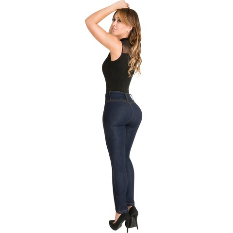 Butt Lifter Skinny Jeans High Rise Waist Authenthic Levanta Cola Colombianos Dark Blue 500DB by Fior