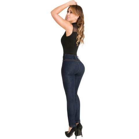 Butt Lifter Skinny Jeans High Rise Waist Authenthic Levanta Cola Colombianos Dark Blue 500DB by Fiorella Shapewear