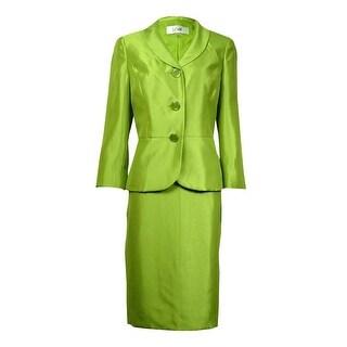 Le Suit Women's Torino Shawl Dupioni Skirt Suit