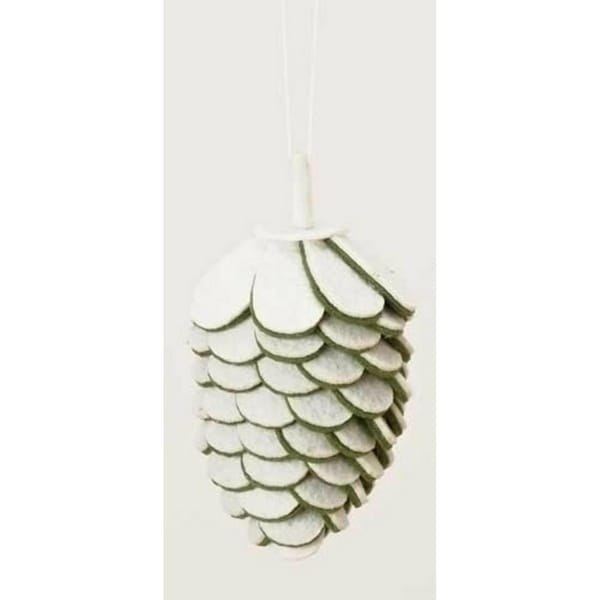 "4.75"" Winter Wonderland White and Green Felt Pine Cone Christmas Ornament"