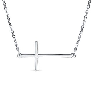Sideways Cross Pendant Sterling Silver Necklace 16 Inches