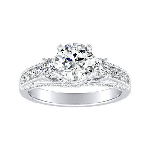 Auriya 14k Gold Vintage 3-Stone Round Diamond Engagement Ring 1 1/6ctw