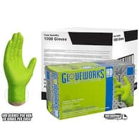 GLOVEWORKS Green Nitrile Industrial Latex Free Disposable Gloves (Case of 1000)