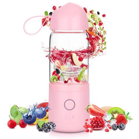AGPtek USB Blender Juicer 4 Blades Fruit Mixer for Home Camping Travel Dormitory 550ml
