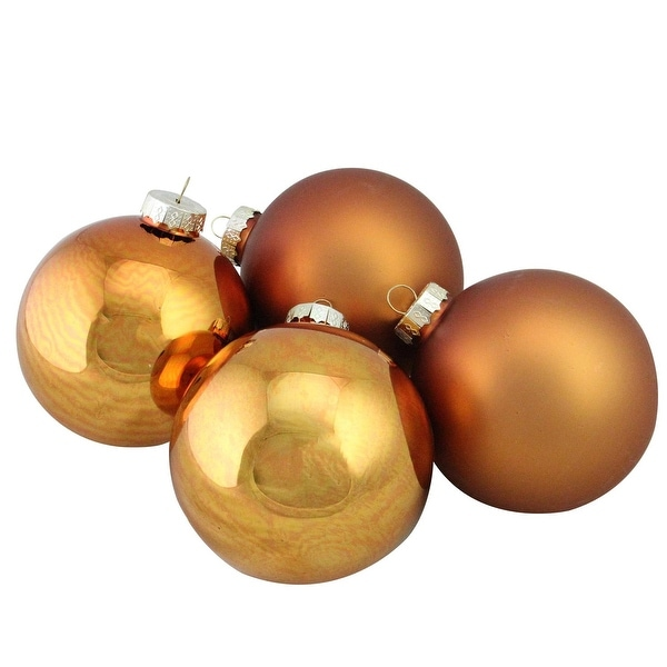 """4-Piece Shiny and Matte Copper Glass Ball Christmas Ornament Set 4"""" (100mm)"""