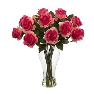 Nearly Natural Blooming Roses with Vase Arrangement