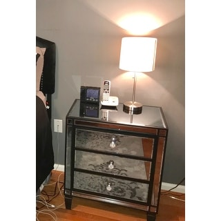 Escanaba Mirrored 3-drawer Black Trim Accent Table by iNSPIRE Q Bold