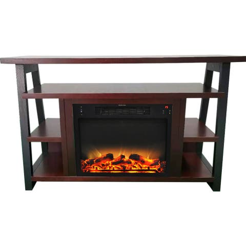 Cambridge 32-In. Sawyer Industrial Electric Fireplace Mantel w/ Realistic Log, Grate Insert, Color Changing Flames, Mahogany