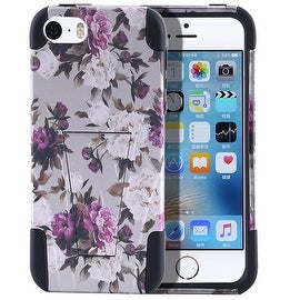 Insten Roses Hard PC/ Silicone Dual Layer Hybrid Case Cover with Stand For Apple iPhone 5/ 5S/ SE