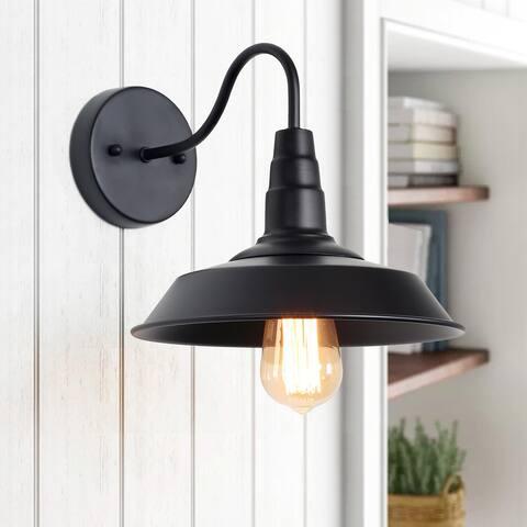 """Farmhouse 1-Light Black Pot Light Gooseneck Barn Wall Sconces Lamp - W10.2""""x H15""""x E13"""""""