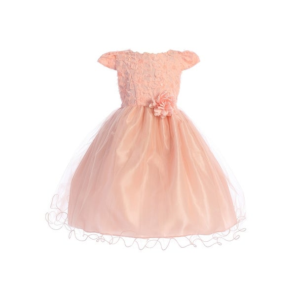 53074366776 Shop Ellie Kids Little Girls Peach Floral Top Wired Tulle Flower Girl Dress  - Free Shipping On Orders Over  45 - Overstock - 21610817