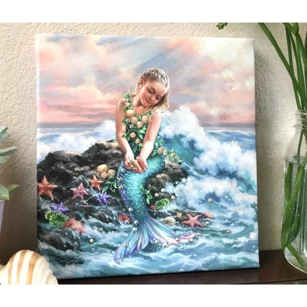 "Blue and White Mermaid Princess with Swarovski Crystals Square Pizazz Wall Art Decor 10"" x 10"""